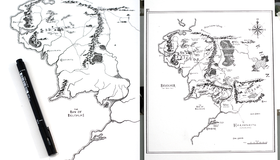 Hand Drawn Weathered Map of Middle earth | LotrProject Blog